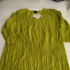 Tops - Tunic, Sequined Crinkle Fabric